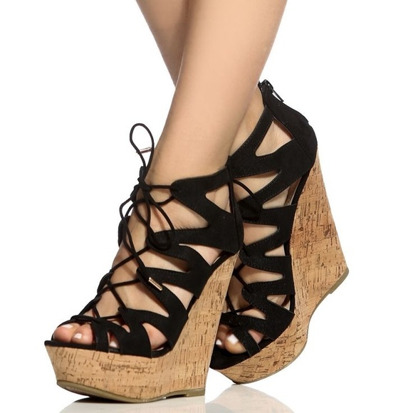 8afe5b1141aa Black and Tan Cut Out Lace Up Wedges